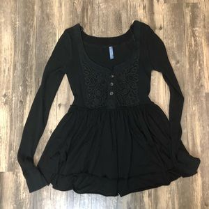 Free People Black Lace Thermal lShirt Sz S